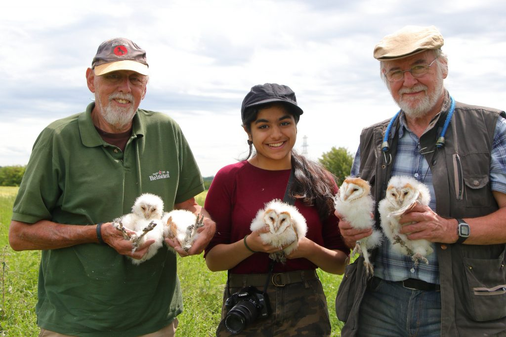 Howard Tannavi and Neil holding 5 Barn Owl chicks